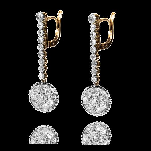 Dawne kolczyki z diamentami wykonane ze złota