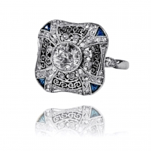 STARY platynowy pierścionek Art Deco z filigranowymi wycinankami oraz doszlifowanymi do wzoru szafirami