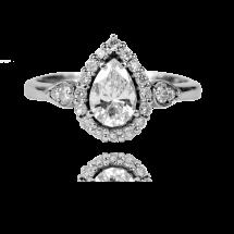 Pierścionek z diamentową łezką wykonany ze złota