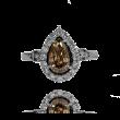 Pierścionek z diamentową łezką Natural Fancy Brown