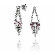 Kolczyki styl Art Deco rubiny brylanty