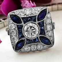 Platynowy pierścionek z szafirami i diamentami LIMITED