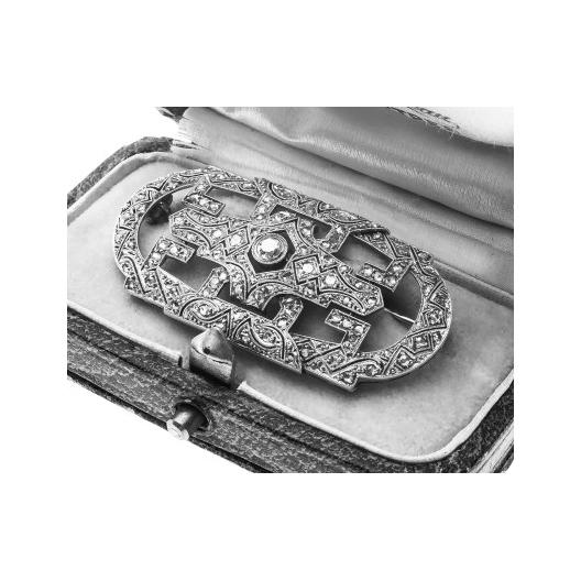 dawna brosza art deco z diamentami bizuteria antyczna