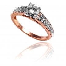 Pierścionek rozowe zloto zaręczynowy z brylantem z różowego złota
