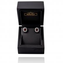 Kolczyki z princessami diamentowymi i rubinami
