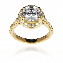 Lovely Halo Ring brylantowy pierścionek różowe złoto