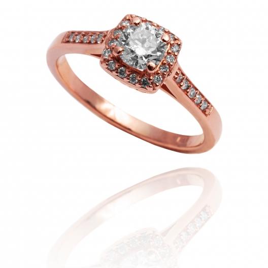 Pierścionek zaręczynowy różowe złoto whiteluxury artistic halo