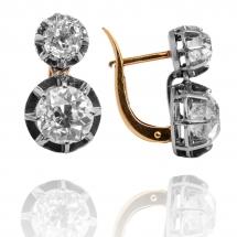 Dawne kolczyki z diamentami wykonane z platyny i złota 0.750