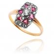 Dawny pierścionek z diamentami i rubinami