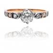 """Carska Rosja - """"56"""" złoty pierścionek z diamentami"""