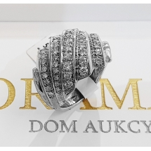 Pierścionek złoty 18K 48 brylantów 0.85ct -50%