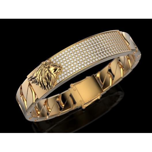 Złota bransoletka męska z brylantami