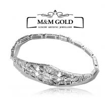 183- Złota bransoletka w stylu Art Deco z brylantem 0,90 ct
