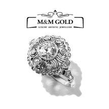 164 - Platynowy pierścionek z brylantem 0,75ct