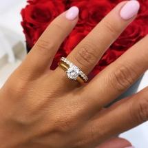 Złoty pierścionek z brylantem 1.03ct wzór Tiffany & Co