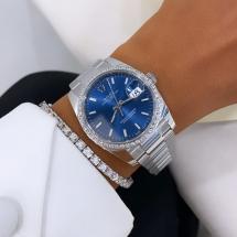Nowy 2021 Rolex Date 34 z brylantowym pierścieniem, niebieska tarcza iced VVS-VS