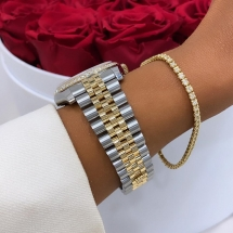 SPRZEDANY Rolex Datejust 36 z brylantowym pierścieniem, złoty cyferblat