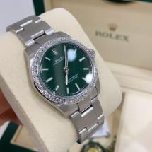 Nowy 2021 Rolex Oyster Perpetual 31 z brylantowym pierścieniem, zielona tarcza iced VVS-VS