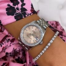 Rolex Datejust 31 brylantowy pierścień , różowy cyferblat