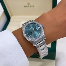 Nowy 2021 Rolex Datejust 31 z brylantowym pierścieniem, zielona tarcza