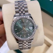 NOWY 2021 Rolex Datejust 31 z brylantowym pierścieniem, zielona tarcza iced