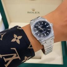 Nowy 2021 Rolex Oyster Perpetual 34 z brylantowym pierścieniem VVS-VS