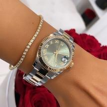 Rolex Lady Datejust 31 zielona tarczą i diamentami. Żółte złoto i stal szlachetna. 2019 rok