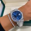NOWY 2021 Rolex Datejust 36 z diamentowym bezelem. Niebieska tarcza