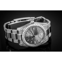 ROLEX Oyster Perpetual 36 - 470 brylantów - Dark silver dial