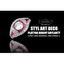 Platynowy pierścionek rubiny RED LOVE