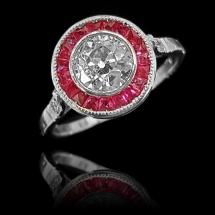 Platynowy pierścionek rubiny caree