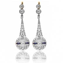 Stare artdeco kolczyki z brylantami 1.70ct i szafirami - biżuteria dawna