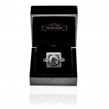 HW Art Deco pierścionek platynowy