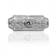 Brosza w stylu Art Deco z diamentami