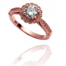 Pierścionek różowe złoto whiteluxury artistic halo