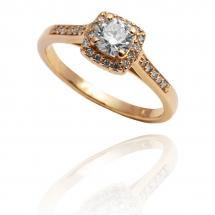 Pierścionek złoty zaręczynowyy z brylantem whiteluxury artistic halo