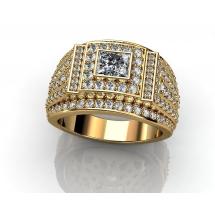 Złoty sygnet w stylu Cartier z brylantami ~0.43ct