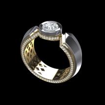 Złoty sygnet z brylantami ~0.43ct