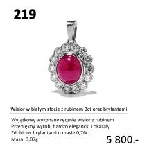 219 - Wisior z rubinem 3ct oraz brylantami
