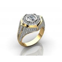 Złoty sygnet z brylantem 1.25ct oraz 80 diamentów