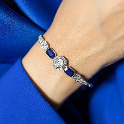 Dawna platynowa bransoletka ART DECO z diamentami i szafirami