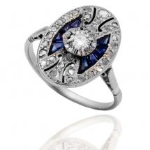 Dawny platynowy pierścionek z diamentami i szafirami