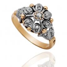 Dawny pierścionek z diamentami ~0.88ct wykonany ze złota
