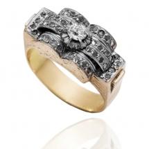Dawny pierścionek z rautami diamentowymi wykonany ze złota 18k