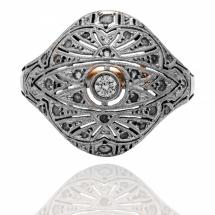 Dawny pierścionek z diamentami ~1.00ct wykonany ze złota i platyny
