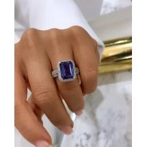 Pierścionek z niebiesko- fioletowym Tanzanitem ~ 4.95ct