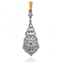 Wisior w kształcie krzyża z diamentami i szafirami