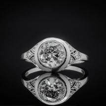 Dawny platynowy pierścionek 1.20ct ART DECO LATA 20. XX W.