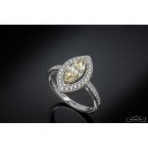 Pierścionek z diamentem - Markiza- szlif fantazyjny ~1.35ct